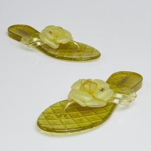 CHANEL Rubber Jelly Camellia Flower Yellow Sandal